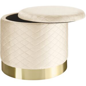 Tectake 403983 stool coco upholstered in velvet look with storage space - 300kg capacity - cream