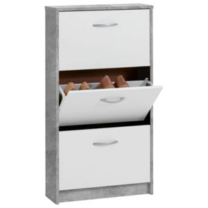 FMD Shoe Cabinet with 3 Tilting Compartments White and Concrete