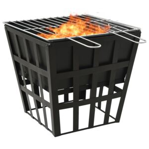 2-in-1 Fire Pit and BBQ 34x34x48 cm Steel