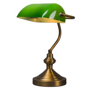 Smart classic table lamp bronze with green glass incl. Wifi A60 - Banker