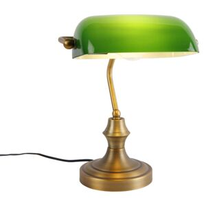 Classic notary lamp bronze with green - Banker