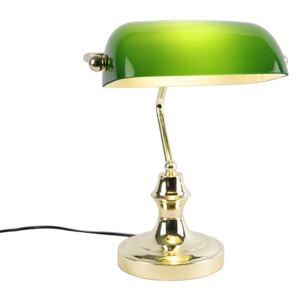 Classic notary lamp brass with green - Banker