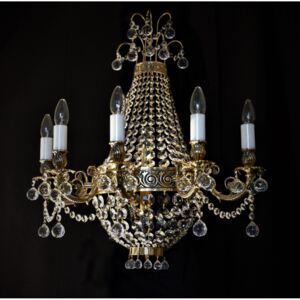 Large 5-arm wall light with strass basket and crystal balls