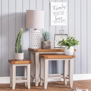 Chester Grey Painted Oak Nest of 3 Tables