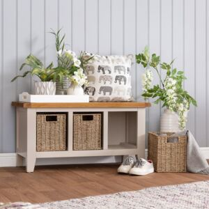 Chester Stone Painted Oak Hall Bench with Wicker Baskets