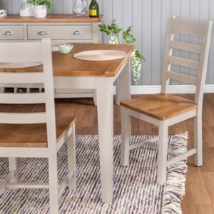 Chester Stone Painted Oak Slat Back Dining Chair With Wooden Seat