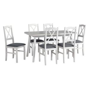 FURNITOP Dining Set DX28 - Table OSLO 6 + Chairs NILO 11 ( 6pcs.)