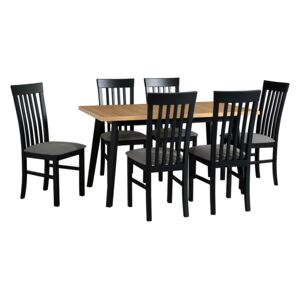 FURNITOP Dining Set DX30 - Table OSLO 5 + Chairs MILANO 2 ( 6pcs.)