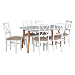 FURNITOP Dining Set DX31 - Table OSLO 7 + Chairs MILANO 4 ( 6pcs.)