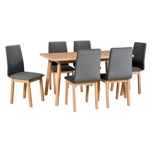 FURNITOP Dining Set DX40 - Table OSLO 5 + Chairs HUGO 5 ( 6pcs.)