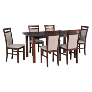 FURNITOP Dining Set DX32 - Table KENT 2 + Chairs MILANO 5 ( 6pcs.)