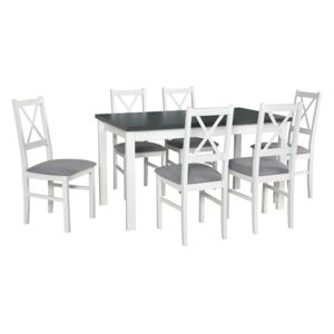 FURNITOP Dining Set DX27 - Table ALBA 1 + Chairs NILO 10 ( 6pcs.)