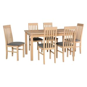 FURNITOP Dining Set DX21 - Table ALBA 1 + Chairs NILO 1 ( 6pcs.)