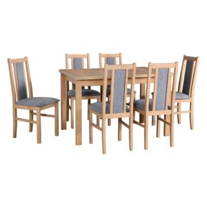 FURNITOP Dining Set DX19 - Table ALBA 1 + Chairs BOS 14 ( 6pcs.)