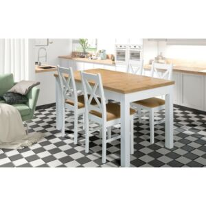 FURNITOP Table ORION II P + Chairs P-X (6pcs.) white