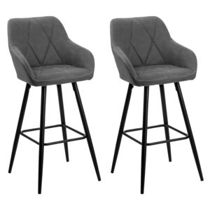 Set of 2 Bar Stool Grey Fabric Upholstered With Arms Quilted Backrest Black Metal Legs Beliani