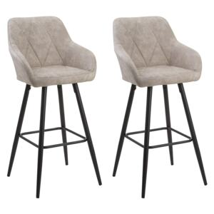Set of 2 Bar Stool Beige Fabric Upholstered With Arms Quilted Backrest Black Metal Legs Beliani