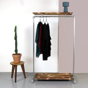 ZIITO WD - Clothes rack with two wooden shelves