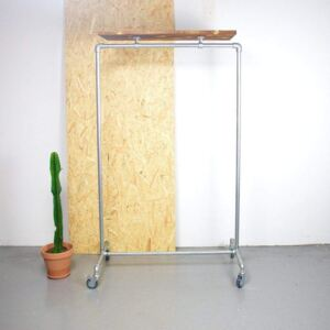 ZIITO RT - Clothes rack on wheels with wooden top shelf