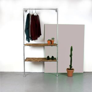 ZIITO W12 - Wall mounted clothes rack with two shelves