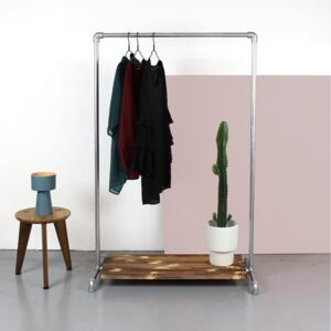 ZIITO WL - Clothes rack with bottom wooden shelf