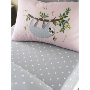 Sloth Hanging Out Dots Single Fitted Sheet and Pillowcase Set