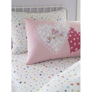 Hearts Single Pink Fitted Sheet and Pillowcase Set