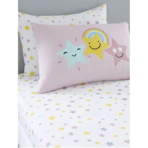 Hello Star Single Pink Fitted Sheet and Pillowcase Set