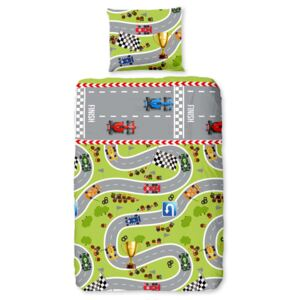 Good Morning Kids Duvet Cover CIRCUIT 140x200/220 cm Lime Green and Grey