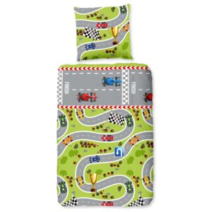 Good Morning Kids Duvet Cover CIRCUIT 135x200 cm Lime Green and Grey