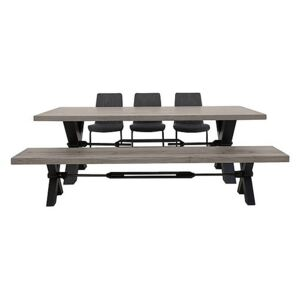 Terra Dining Table, 3 Grey Chairs and Bench Dining Set - Grey