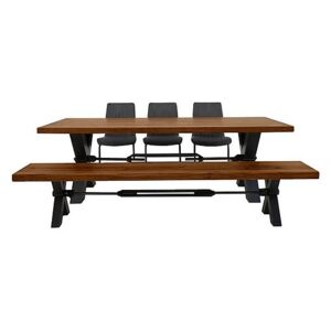 Terra Dining Table, 3 Grey Chairs and Bench Dining Set