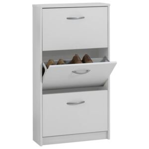 FMD Shoe Cabinet with 3 Tilting Compartments White