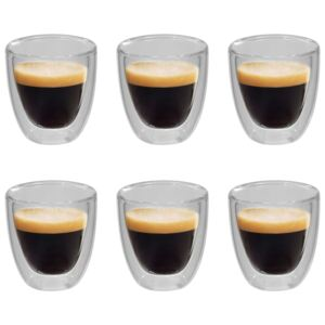 Double Wall Thermo Glass for Espresso Coffee 6 pcs 80 ml
