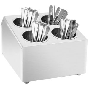 VidaXL Cutlery Holder 4 Grids Square Stainless Steel