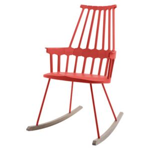 Comback Rocking chair by Kartell Red/Natural wood