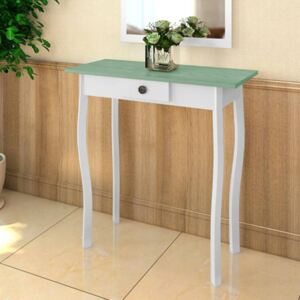 Console Table MDF White and Greyish Green