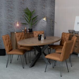 Industrial Oak 2.0m Oval Dining Table