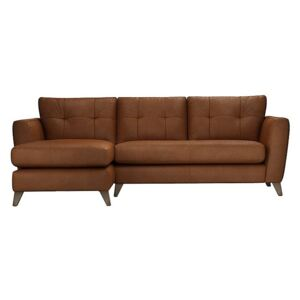 The Lounge Co. - Hermione Leather Corner Sofa with Chaise End - Brown