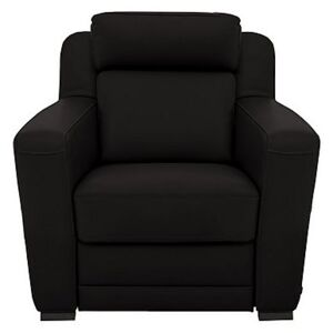 Nicoletti - Matera Leather Armchair with Box Arms - Black