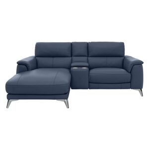 Odyssey Leather Recliner Chaise Sofa with Cupholders and Power Headrests - Blue- World of Leather