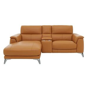 Odyssey Leather Recliner Chaise Sofa with Cupholders and Power Headrests - Yellow- World of Leather