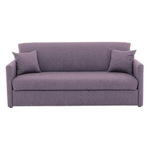 Versatile 3 Seater Fabric Sofa Bed with Slim Arms - Purple