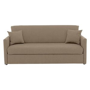 Versatile 3 Seater Fabric Sofa Bed with Slim Arms - Beige