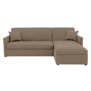 Versatile Small 2 Seater Fabric Chaise Sofa Bed with Slim Arms - Beige