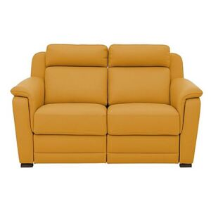 Nicoletti - Matera 2 Seater Leather Power Recliner Sofa with Pad Arms - Yellow