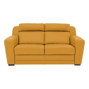 Nicoletti - Matera 3 Seater Leather Static Sofa with Box Arms - Yellow