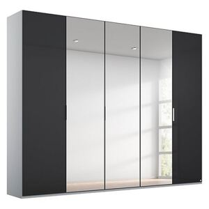 Rauch - Formes Glass 5 Door Hinged Wardrobe with 3 Mirrors - Black
