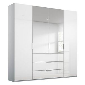 Rauch - Formes Glass 4 Door Combo Hinged Wardrobe with 2 Mirrors and Drawers - White