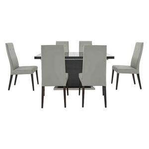 ALF - St Moritz Extending Dining Table and 6 Faux Leather Dining Chairs - Grey